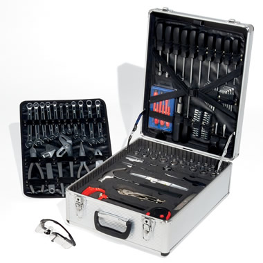 The Handyman's Chrome-Vanadium Tool Set (124-piece w/ Cordless Drill).