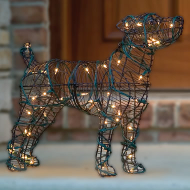 The Illuminated Steel Frame Dog Sculptures Basset Hound or Cocker Spaniel.
