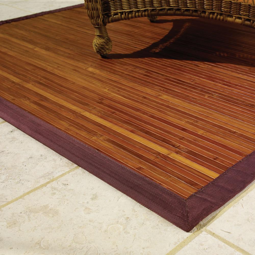 bamboo door mat - the anji mountain non slip bamboo rug hammacher schlemmer indooroutdoor doormats