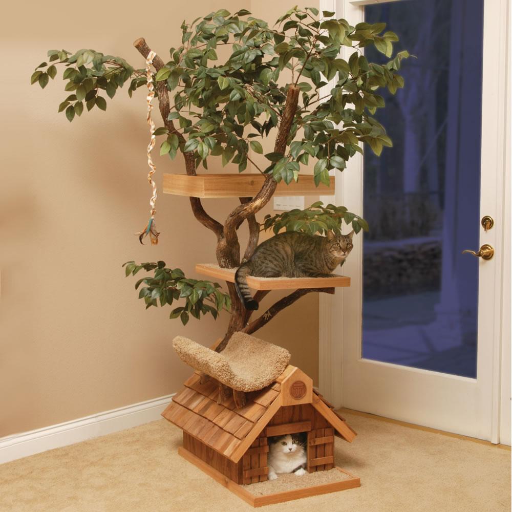 the feline tree house hammacher schlemmer. Black Bedroom Furniture Sets. Home Design Ideas