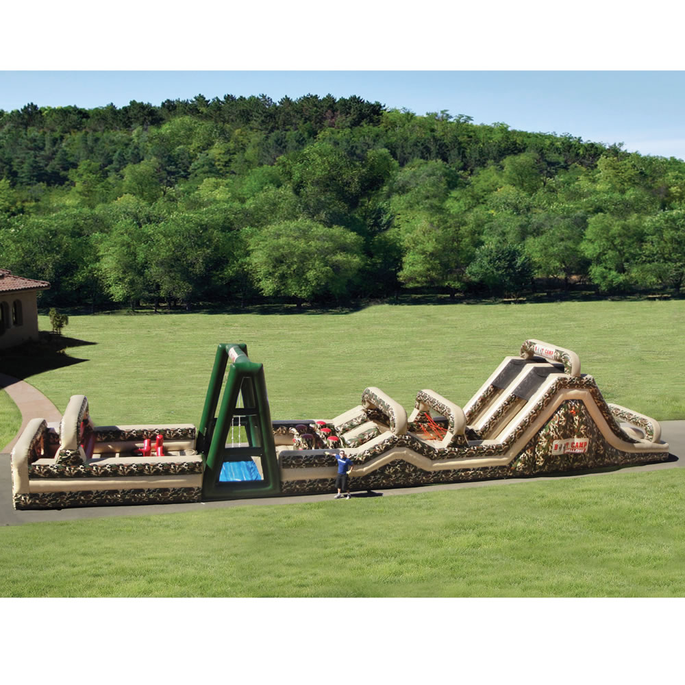 The 85 foot inflatable military obstacle course for Jardin 85