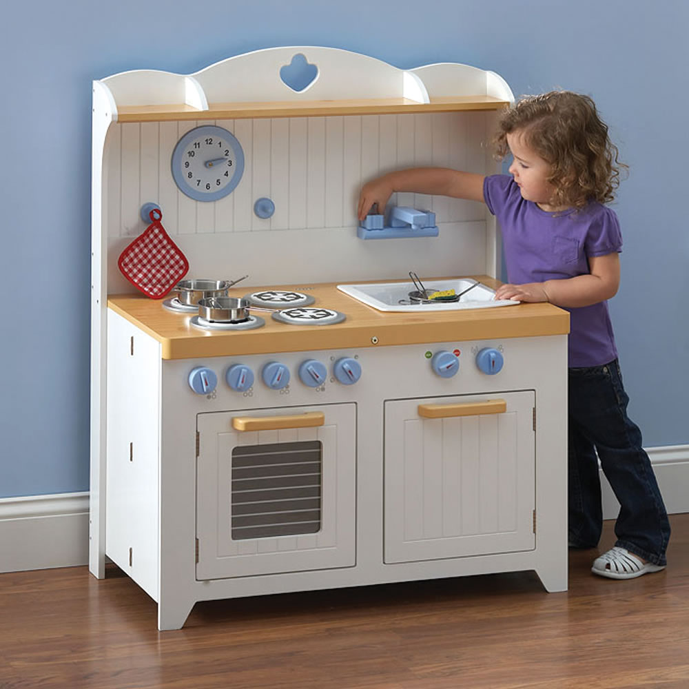 The young chef 39 s foldaway kitchen playset hammacher for Kitchen kitchen set