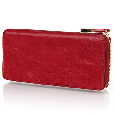 The Lady's Italian Leather Zippered Wallet (Aniline Dyed Cowhide).