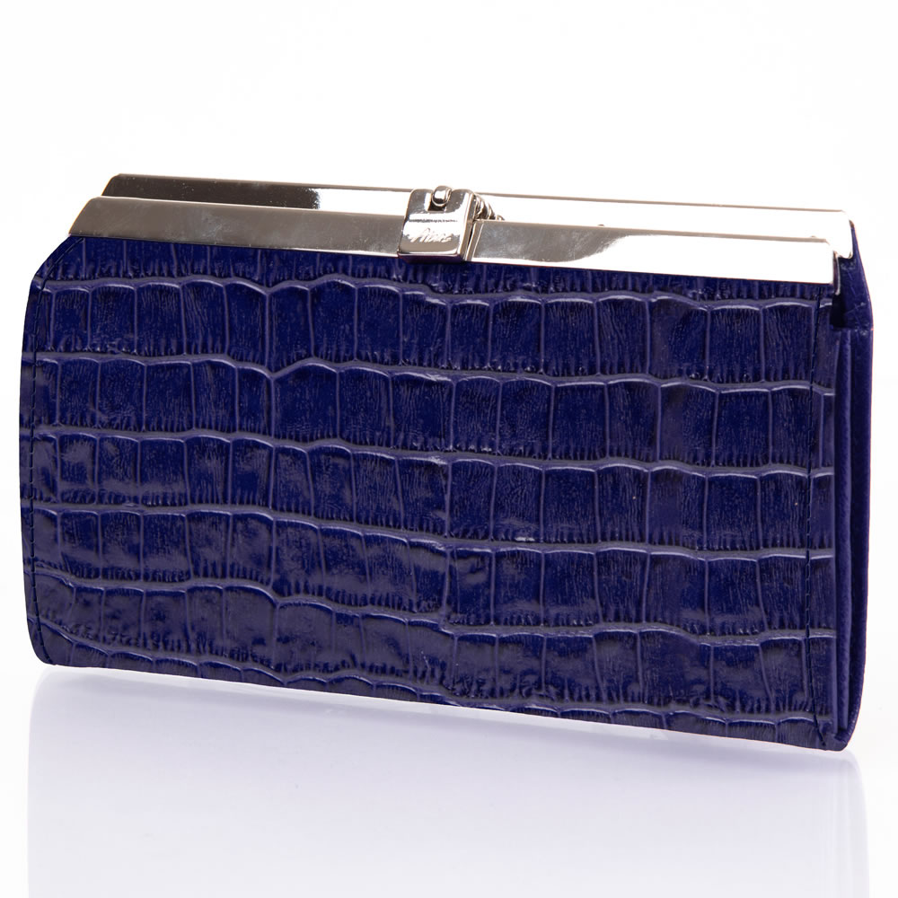 The Lady's Italian Leather Accordion Wallet  (Crocodile Skin Embossed)6