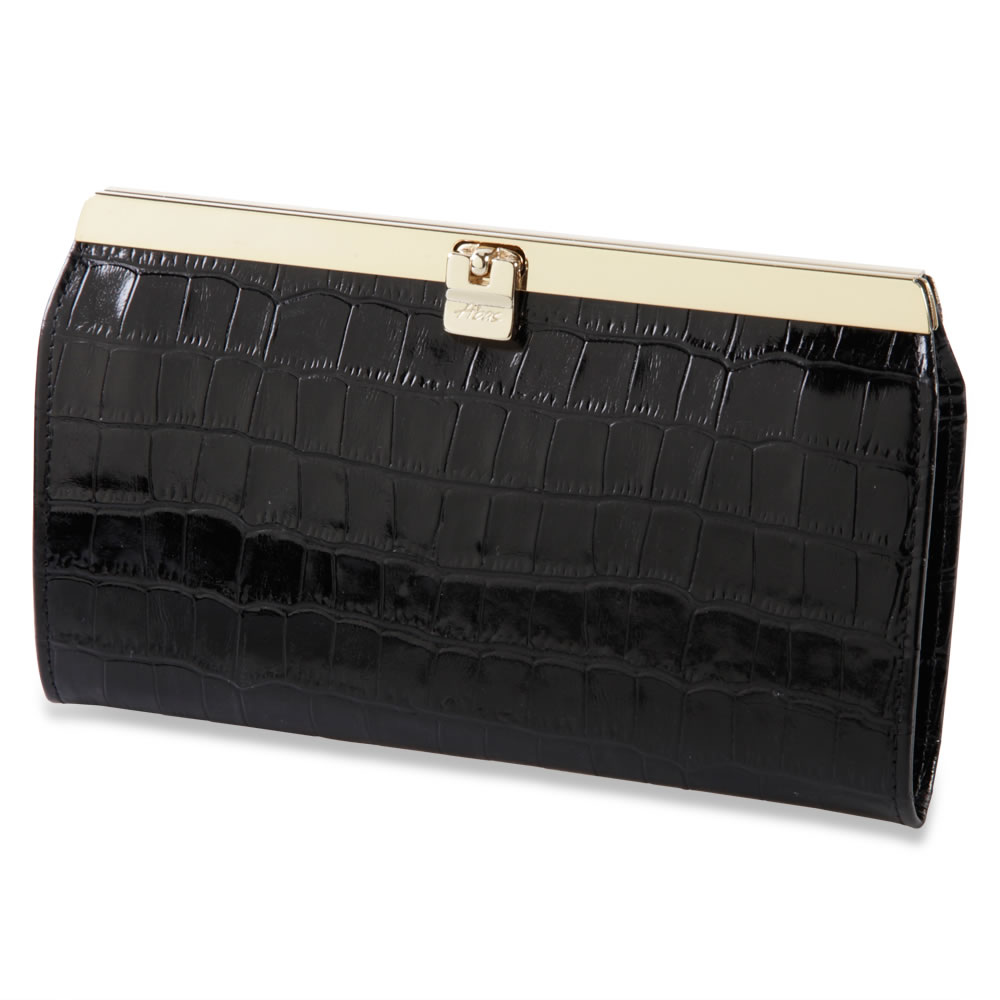 The Lady's Italian Leather Accordion Wallet  (Crocodile Skin Embossed)1