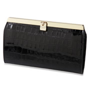 The Lady's Italian Leather Accordion Wallet. (Crocodile Skin Embossed)