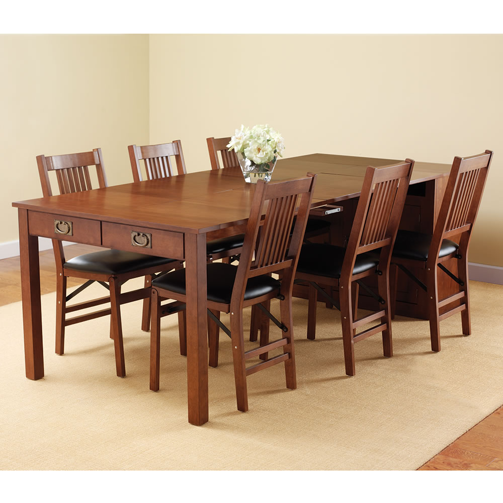 the expanding dining table hutch hammacher schlemmer the expanding dining table hutch
