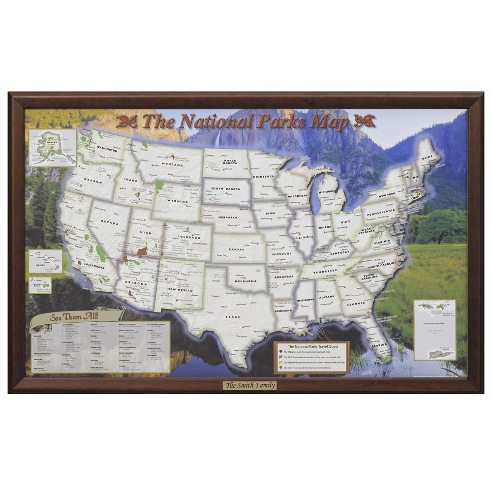 The Personalized US National Parks Map Hammacher Schlemmer - Wall map of us national parks