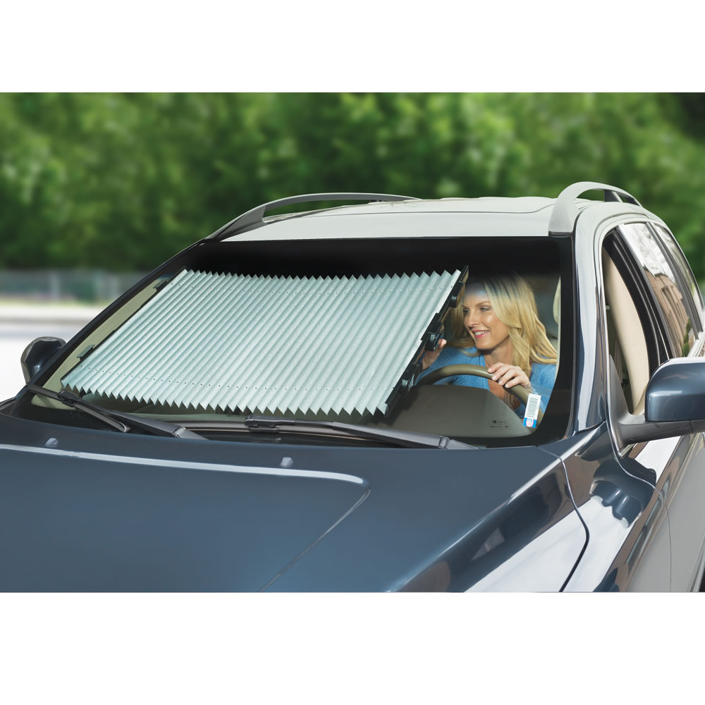 The Custom Retractable Windshield Shades Hammacher Schlemmer