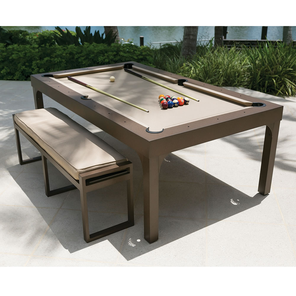 The outdoor billiards to dining table hammacher schlemmer Pool dining table