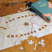 The World's Greatest Dad Personalized Map Puzzle.