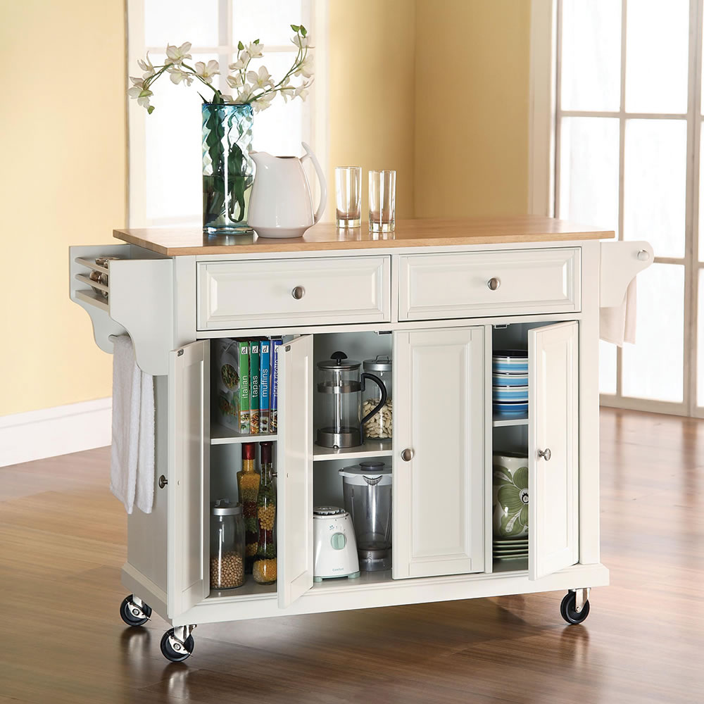 Rolling Kitchen Island The Rolling Organized Kitchen Island Hammacher Schlemmer