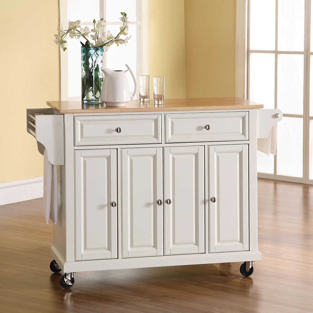 Rolling Kitchen Island the rolling organized kitchen island - hammacher schlemmer