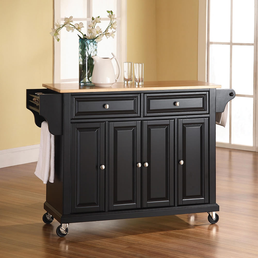 Kitchen Island 48 Inch the rolling organized kitchen island - hammacher schlemmer