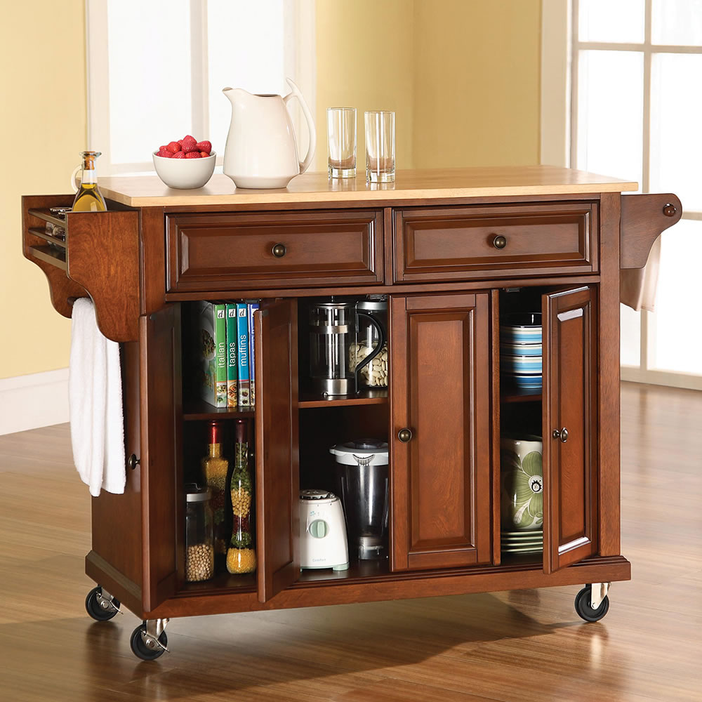 The rolling organized kitchen island hammacher schlemmer for Kitchen units on wheels