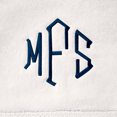 Monogramming for the Genuine Turkish Bathrobe, Shower Wrap and Towels.