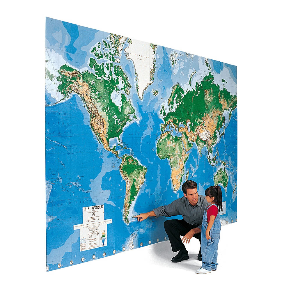 The world 39 s largest write on map mural hammacher schlemmer for Dry erase world map wall mural