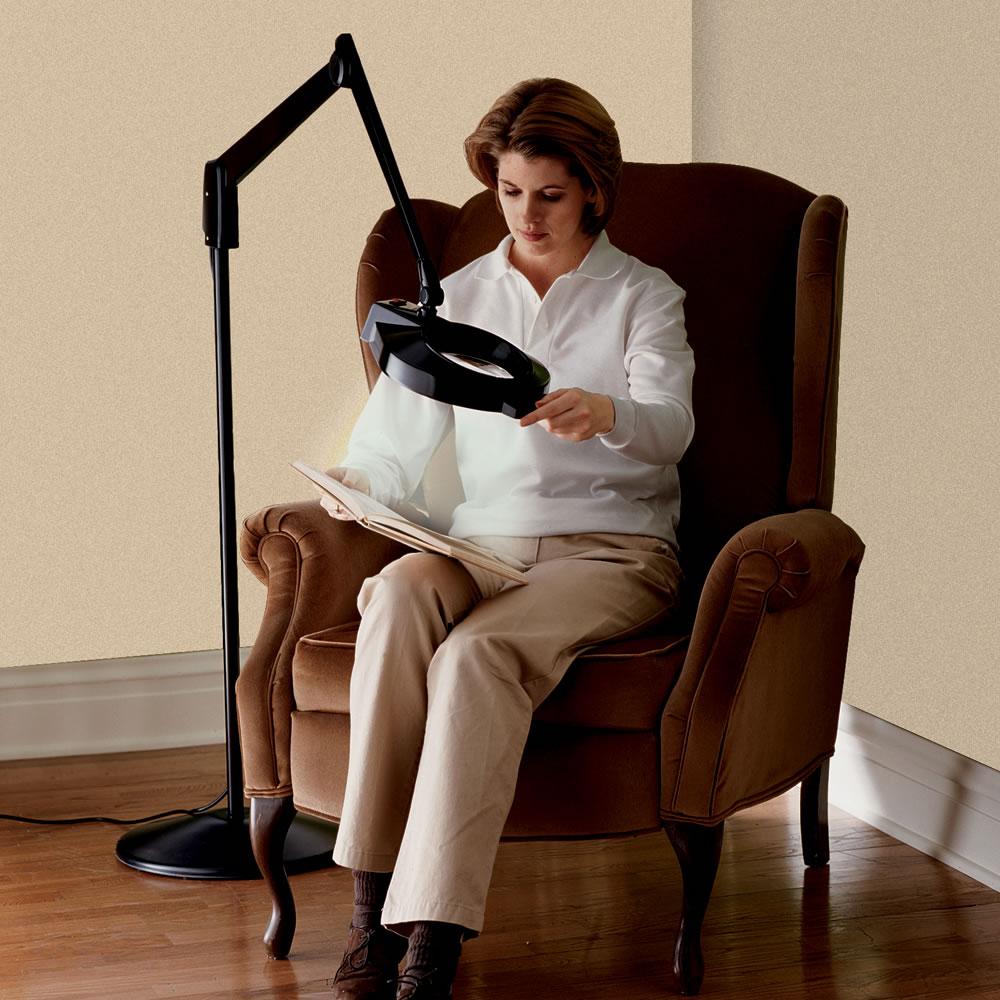 the professional 39 s floor standing magnifier lamp hammacher schlemmer. Black Bedroom Furniture Sets. Home Design Ideas