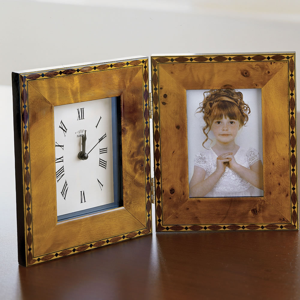 The handmade italian marquetry frame and clock hammacher schlemmer jeuxipadfo Image collections