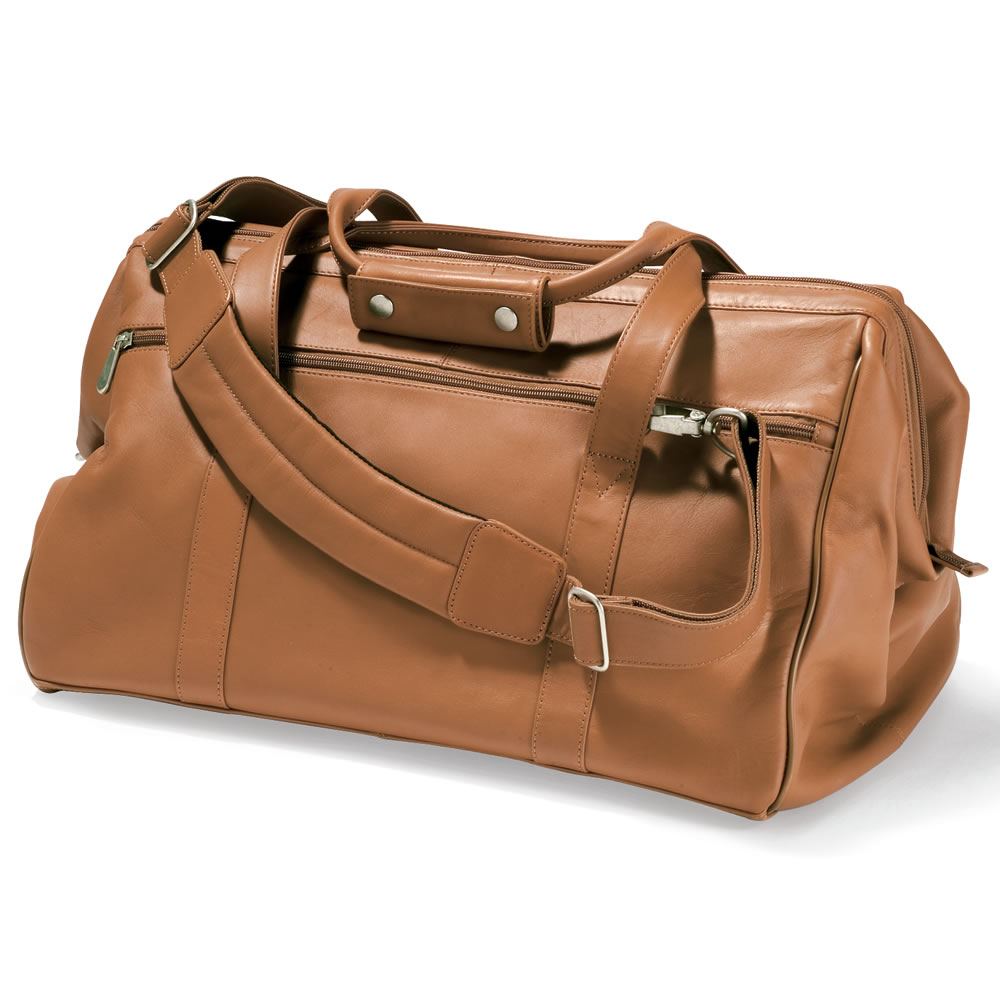 The Widemouth Leather Weekend Bag - Hammacher Schlemmer