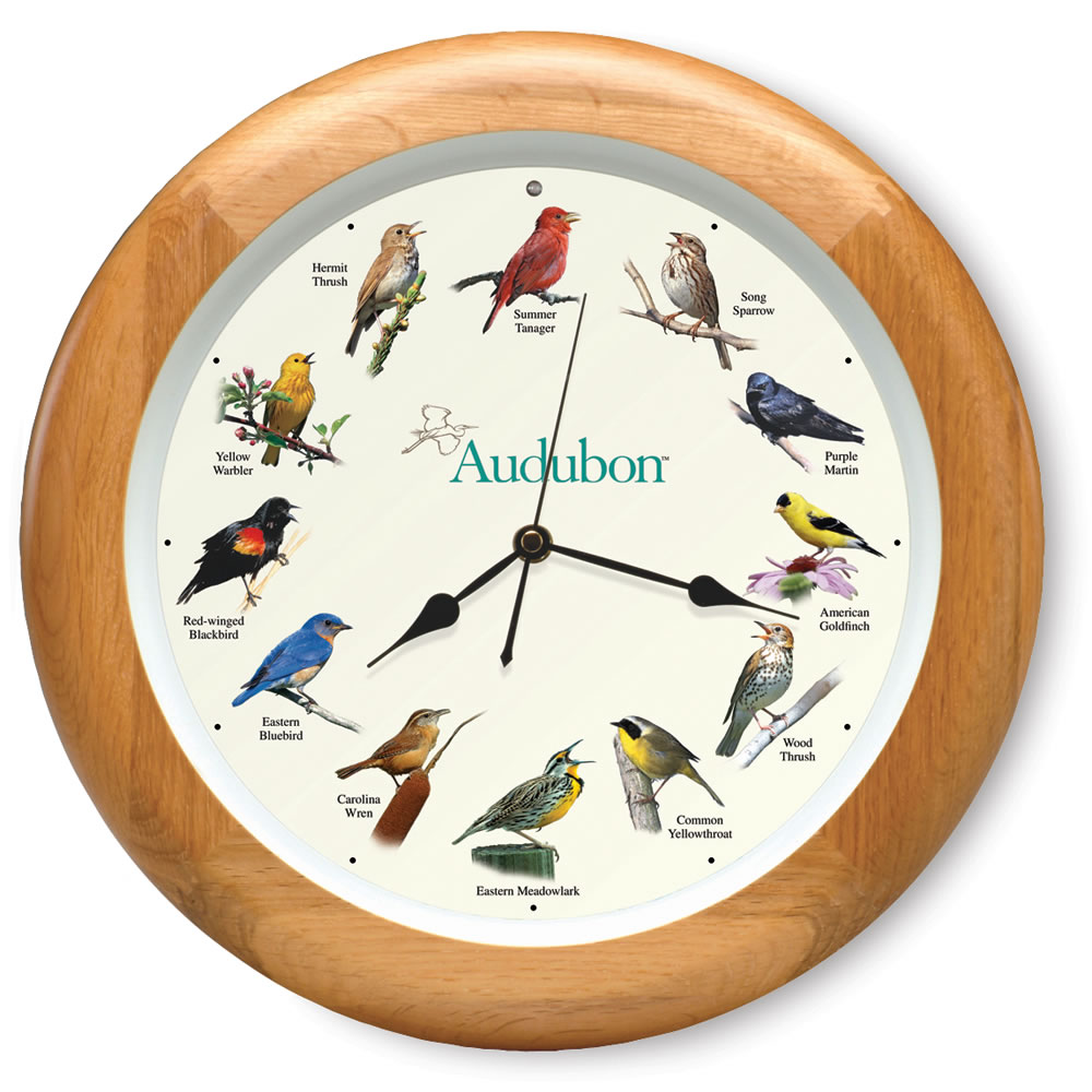 The oak framed audubon society singing bird clock hammacher schlemmer - Cuckoo bird clock sound ...