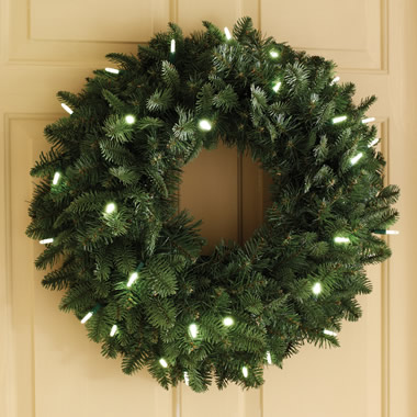 The Place Anywhere Cordless Prelit 24 Inch Wreath.