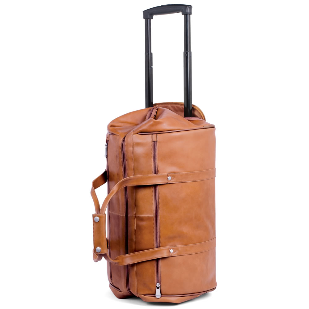 The Rolling Widemouth Leather Weekend Bag - Hammacher Schlemmer