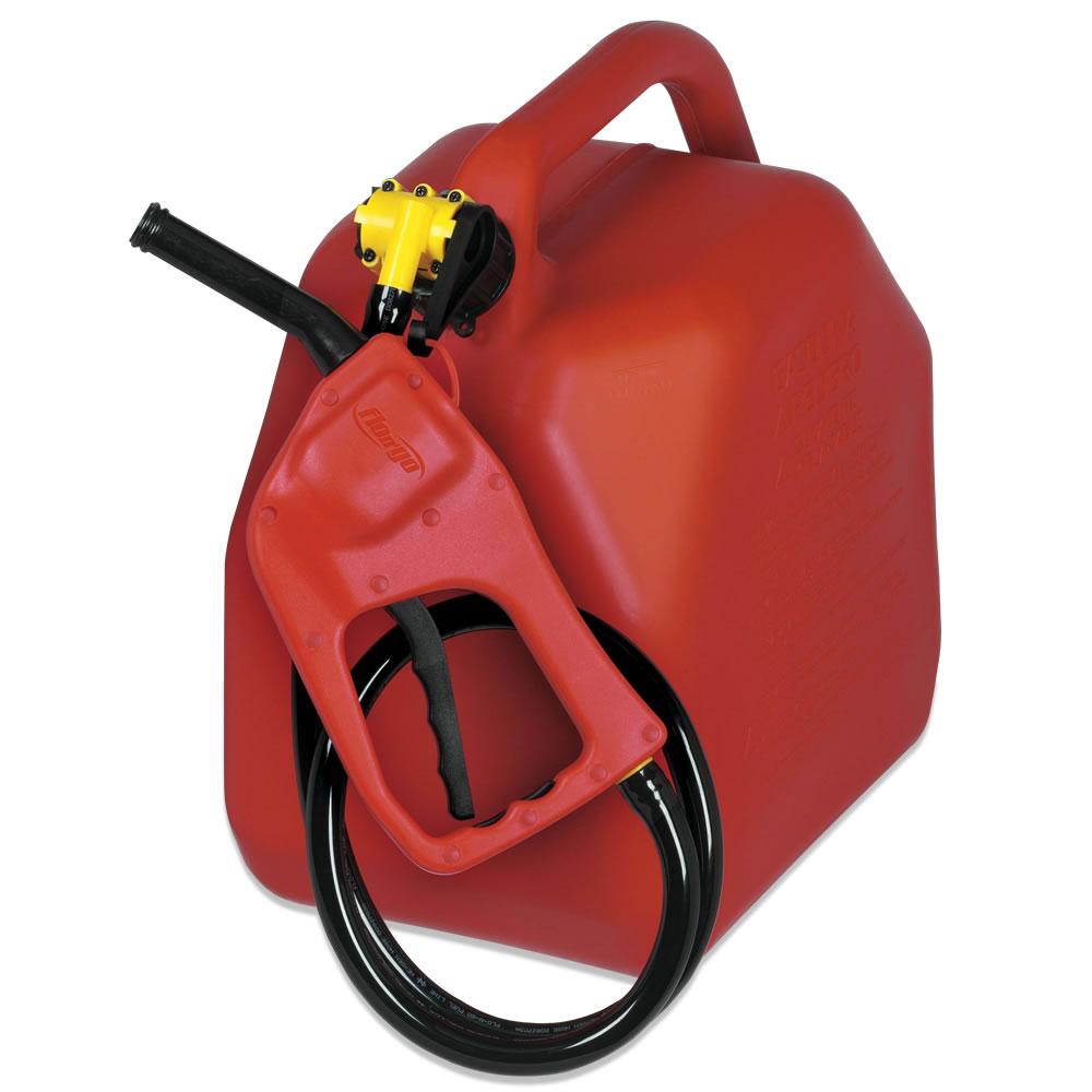 Portable Gas Pump : The six gallon spill proof portable gas pump hammacher