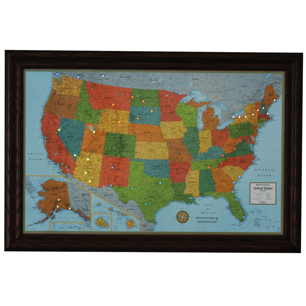 The Track Your Travels Lighted US Map Hammacher Schlemmer – Track Your Travels Map