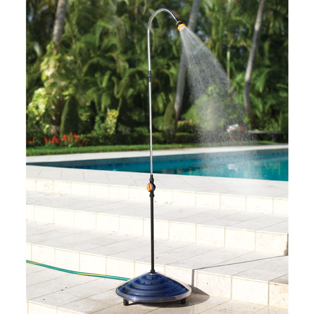 The 86 Degree Solar Heated Outdoor Shower Hammacher Schlemmer