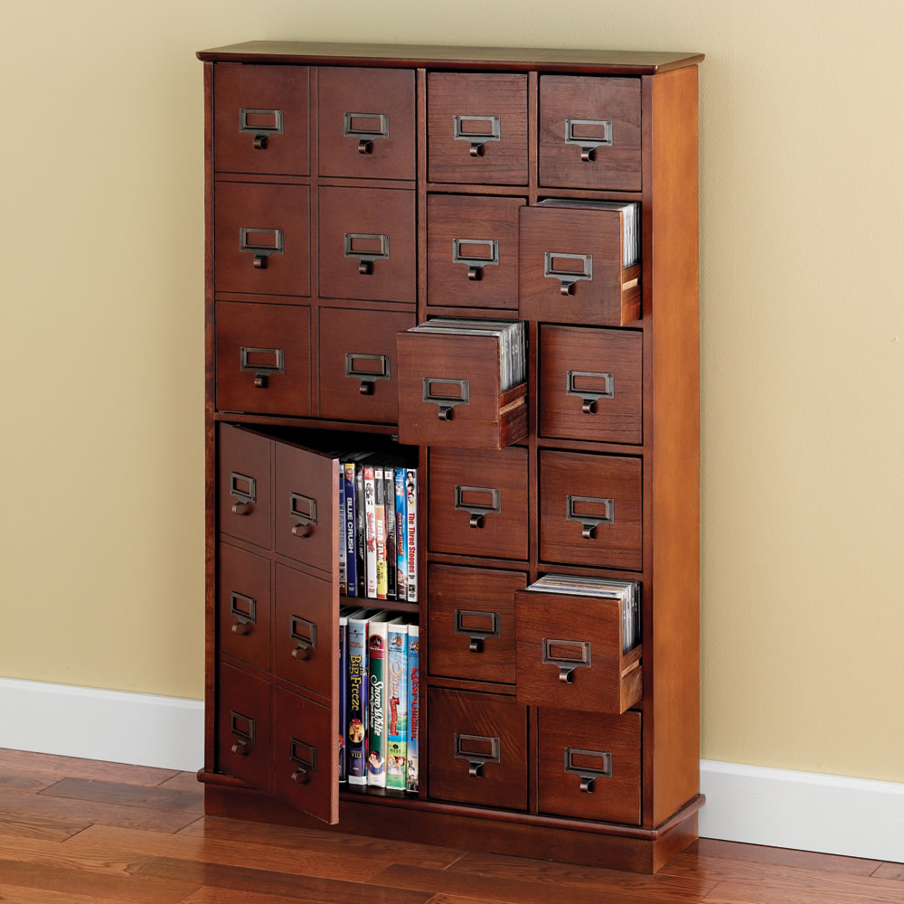 Space Saving Cabinet The Space Saving Cd Dvd Storage Cabinet Hammacher Schlemmer