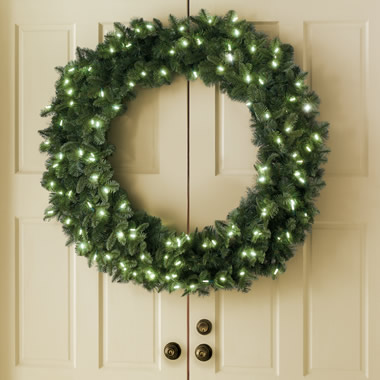 The Place Anywhere Cordless Prelit Double-Door 48 Inch Split Wreath.