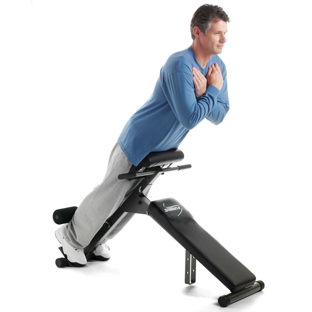 The Foldaway Abdominal And Back Exercise Bench Hammacher Schlemmer