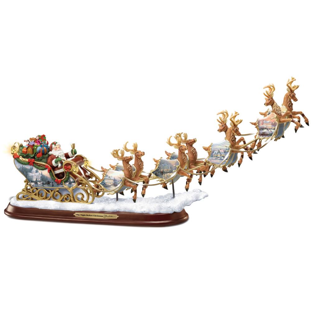 The Thomas Kinkade Illuminated Santa's Sleigh - Hammacher Schlemmer