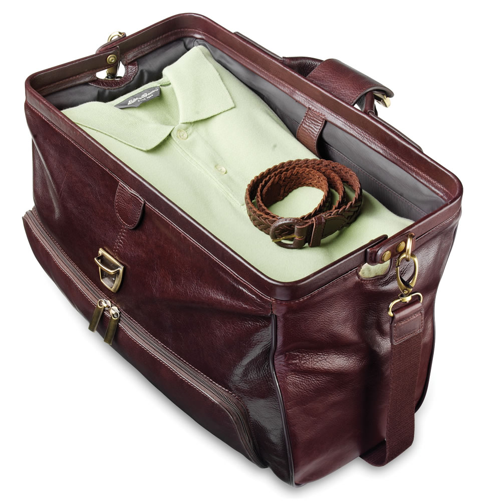 The Widemouth Leather Carry On Bag - Hammacher Schlemmer