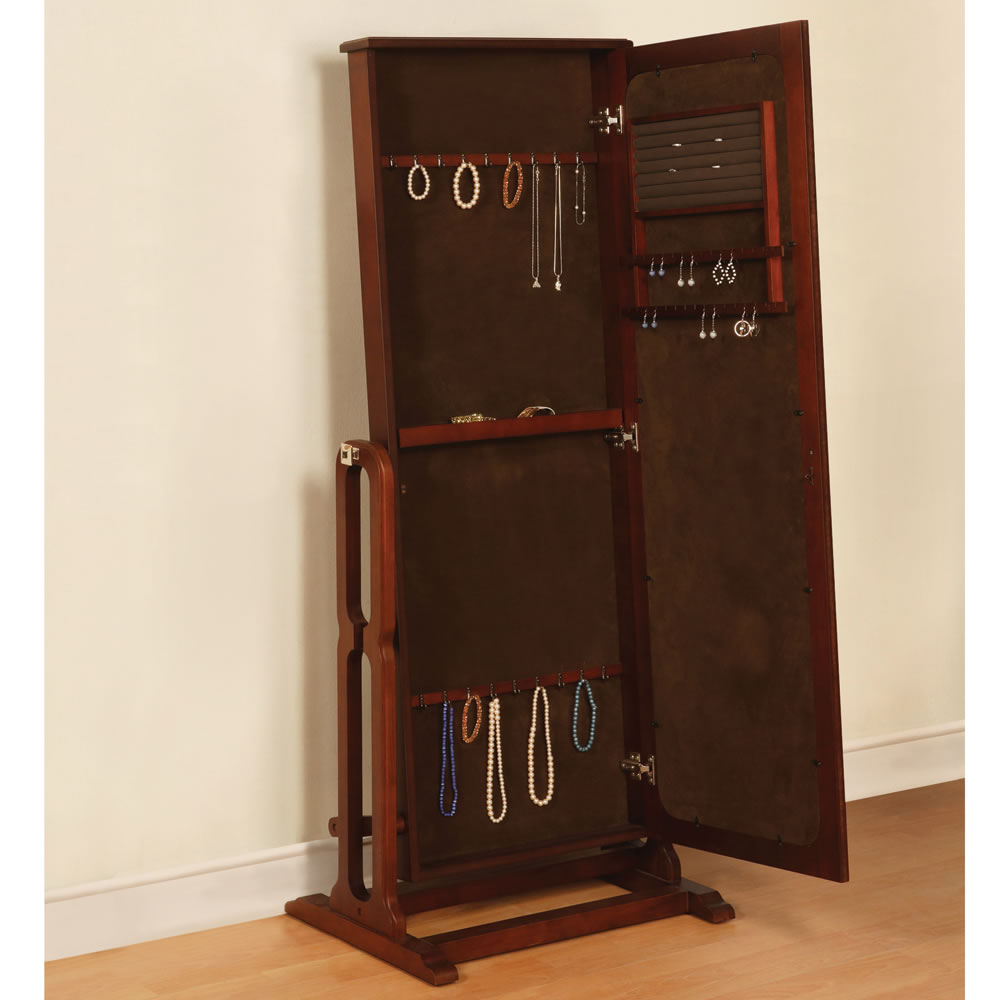 The free standing mirrored jewelry armoire hammacher for Mirror jewelry cabinet