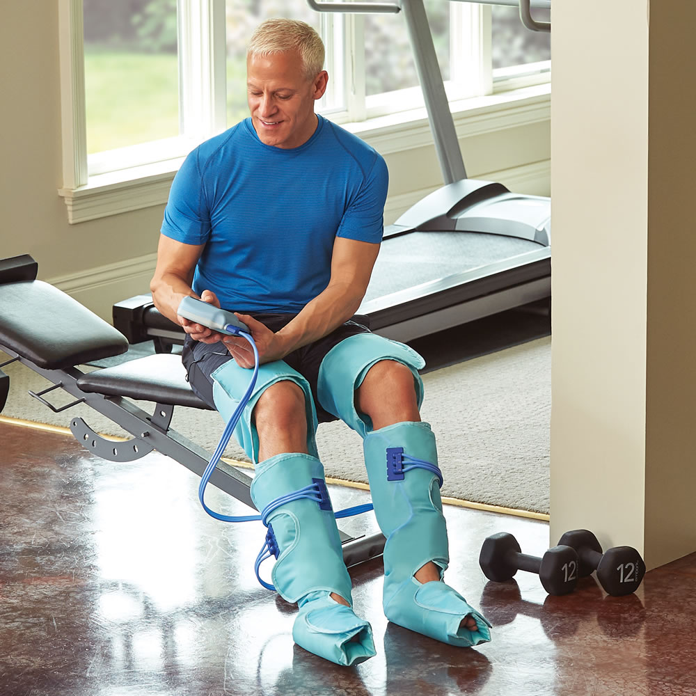 The Circulation Improving Leg Wraps Hammacher Schlemmer