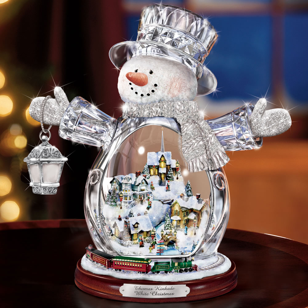 The Thomas Kinkade Illuminated Crystal Snowman 1