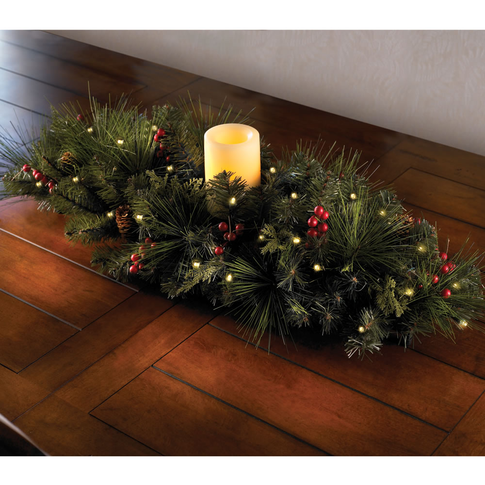The cordless prelit evergreen centerpiece hammacher