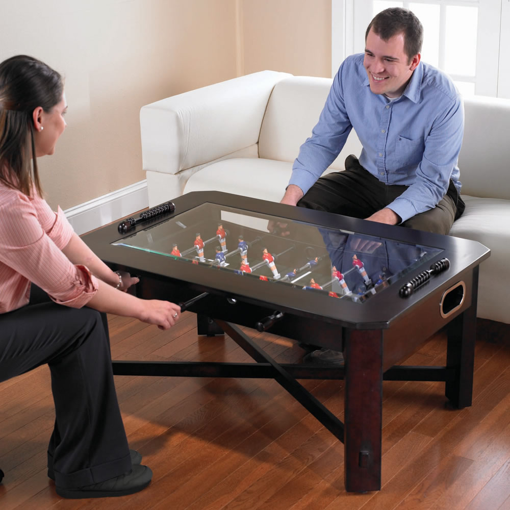 The foosball coffee table hammacher schlemmer for Salon baby cool
