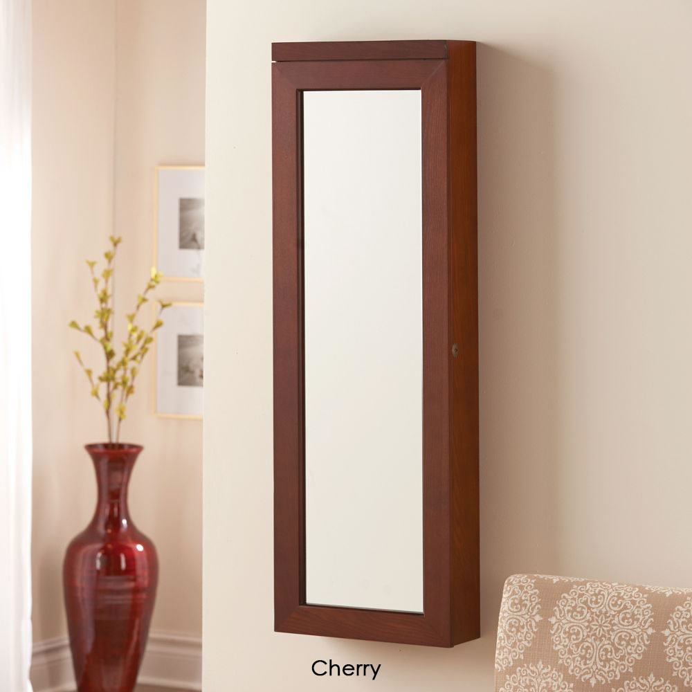 "Wall Mount Jewelry Armoire Mirror the 45"" wall mounted lighted jewelry armoire - hammacher schlemmer"