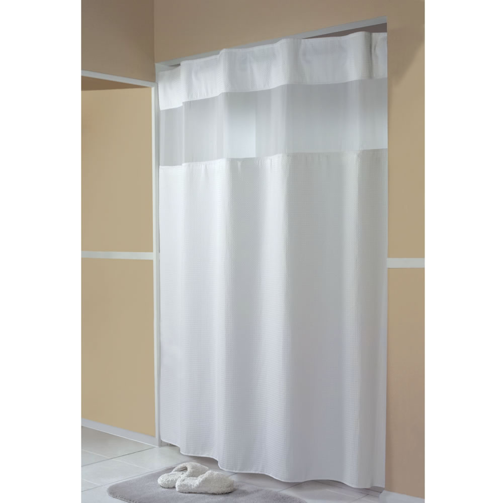 the only hidden rod shower curtain hammacher schlemmer. Black Bedroom Furniture Sets. Home Design Ideas