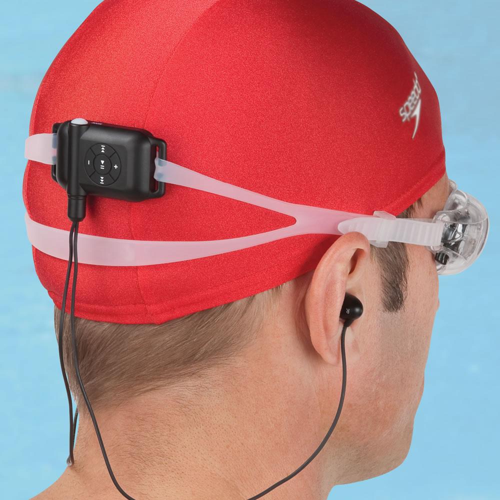 the swimmer 39 s waterproof mp3 player hammacher schlemmer. Black Bedroom Furniture Sets. Home Design Ideas
