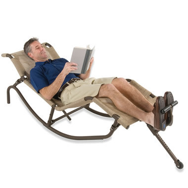 The Foot Propelled Rocking Outdoor Lounger.