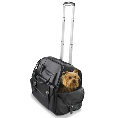 The Rolling Leather Pet Carry On