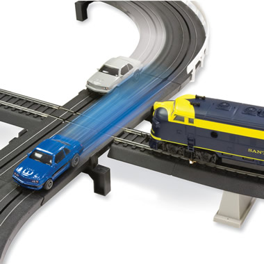 The Only Intersecting Slot Car And Train Set.