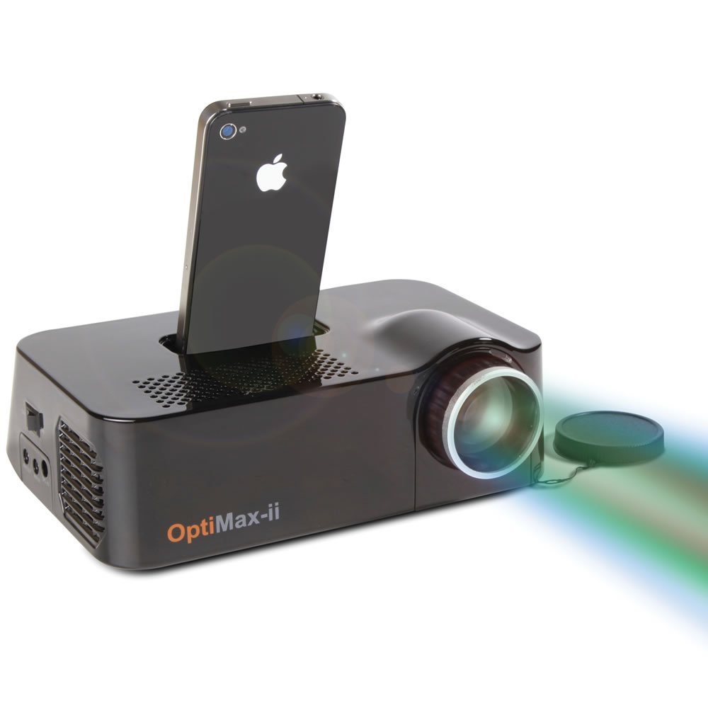 The iphone video projector hammacher schlemmer for Best portable projector for iphone
