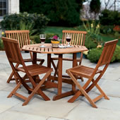 The Trestle Patio Table and Stow Away Chairs.