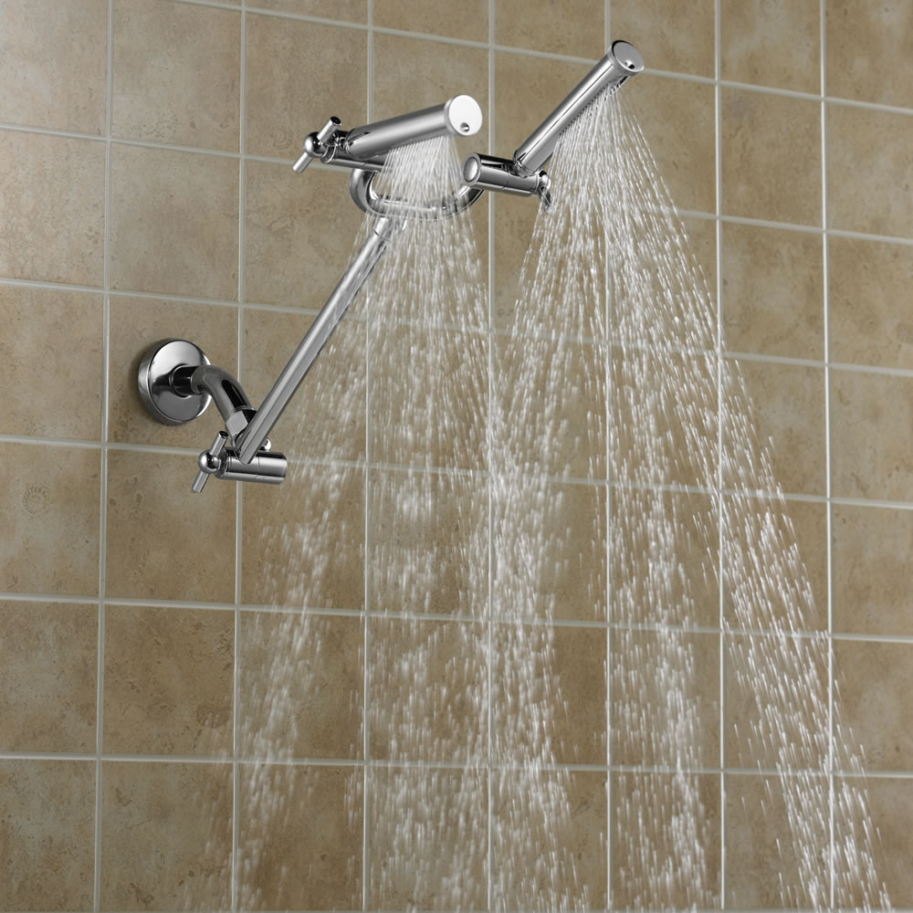 the dual spray showerhead hammacher schlemmer