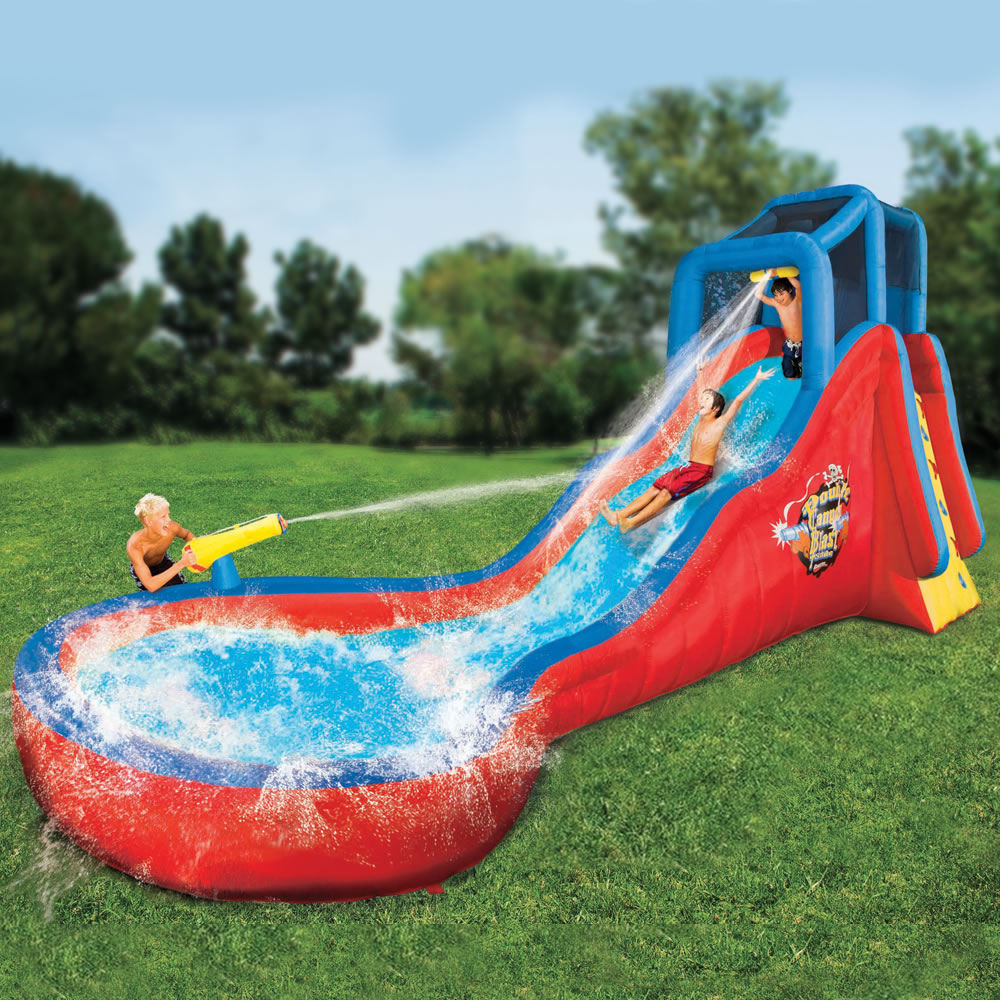 The 18 Foot Splashing Soaker Slide Hammacher Schlemmer